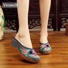 Veowalk Handmade Women Denim Embroidered Close Toe Wedge Mules Slippers Med Heel Ladies Comfort Summer Cotton Platform Shoes