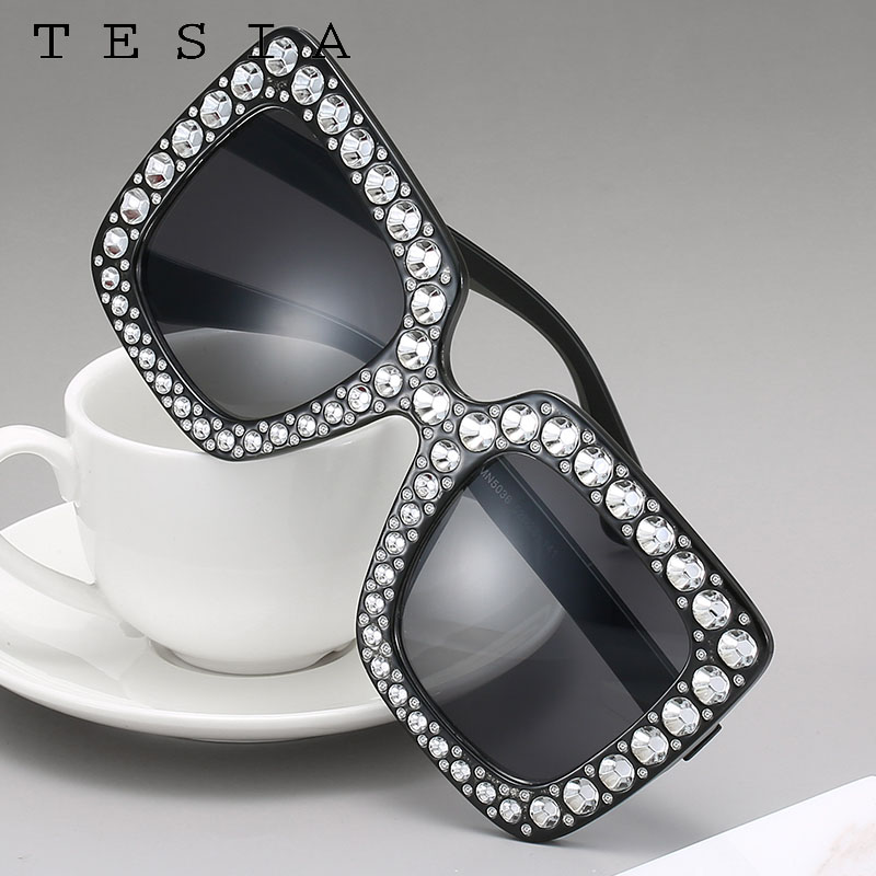 Square Oversized Sunglasses Women Vintage Large Frame Tinted Lens Sunglass Black Yellow Pink Glasses Imitation Diamonds Eyewear
