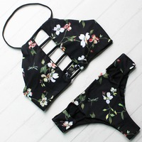 Floral Women Bikini Set New Halter Swimwear Printed Bikini High Neck Lace Up Front Top And