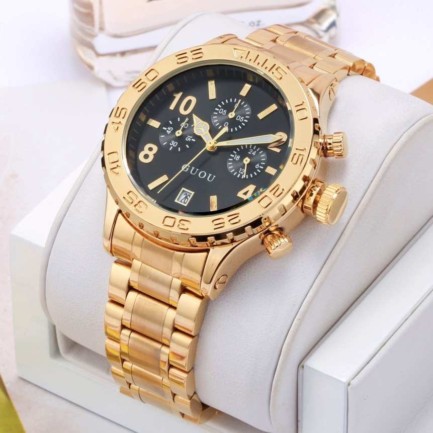 Luxury GUOU Multifunction Women Men Watches 3 Small Working Remove Dials Calendar Wristwatch Watch Clock For Ladies Men Female