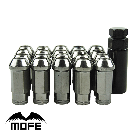 Mofe 20 pcs/set SR48mm Steel Car Lug Nuts M12*1.5  Extended Open End Wheel Lock Lug Nuts  Titanium