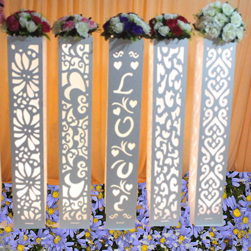 Luxury Wedding Carved Pillar Wedding Road Lead Stand columns with led lights Wedding Road Lead Stand Carved Pillar decoration-in Party DIY Decorations from Home & Garden    2