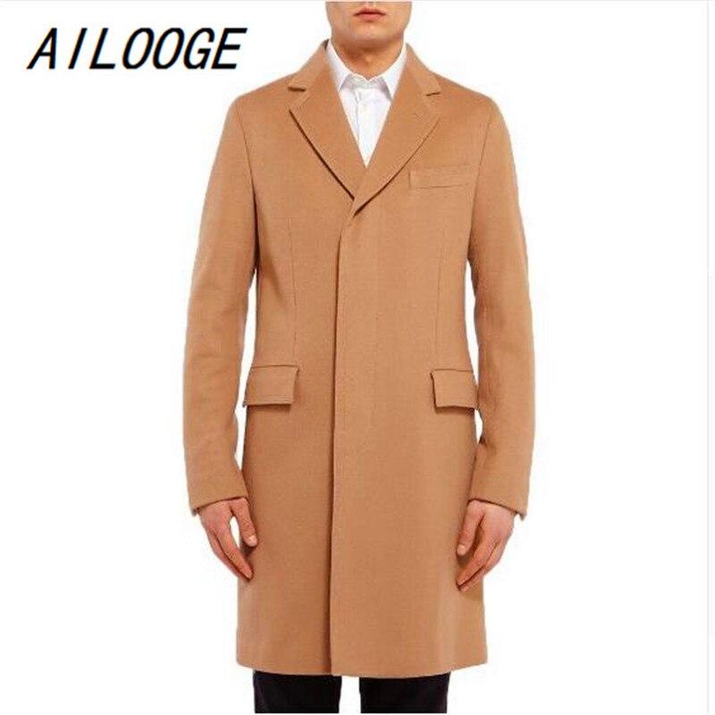 AILOOGE Fashion New Long Men's Trench Coat Single Breasted Winter Overcoat Casual Solid Men Long Wool Coat Black/Camel Men Coat