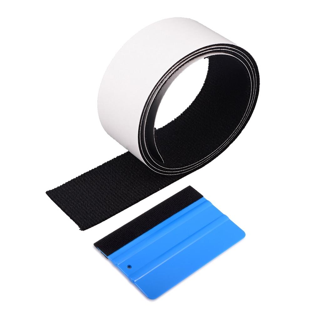 FOSHIO 100cm Spare Fabric Felt Edge For Vinyl Carbon Fiber Card Squeegee Scratch-less Car Film Wrap Felt Cloth Window Tint Tool