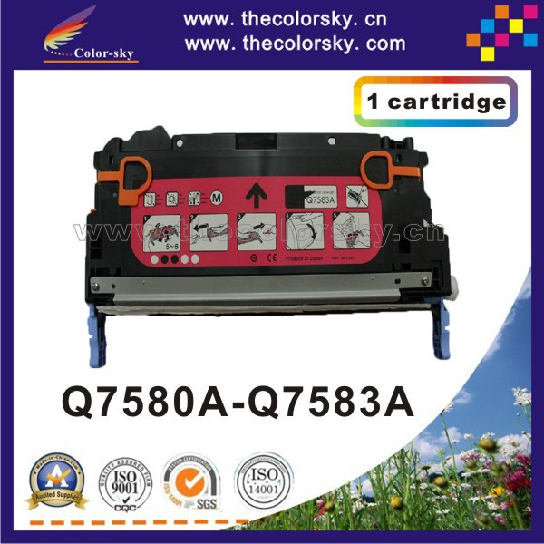 (CS-H7580-7583) compatible toner cartridge for HP Q7580A Q7581A Q7582A Q7583A Q7580 - Q7583 7580 - 7583 6k/4k pages free Fedex