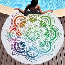 2019 Mandala Round Beach Towel with Tassel 450g Microfiber Absorbent Mat Bedspread Tapestry Blanket Swimming Bath Towel(China)