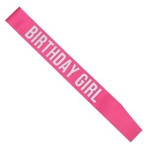 Image 5 - Aniversário menina cetim sash para 16 18 20 21 aniversário festa menina decorações favor presentes suprimentos branco rosa preto