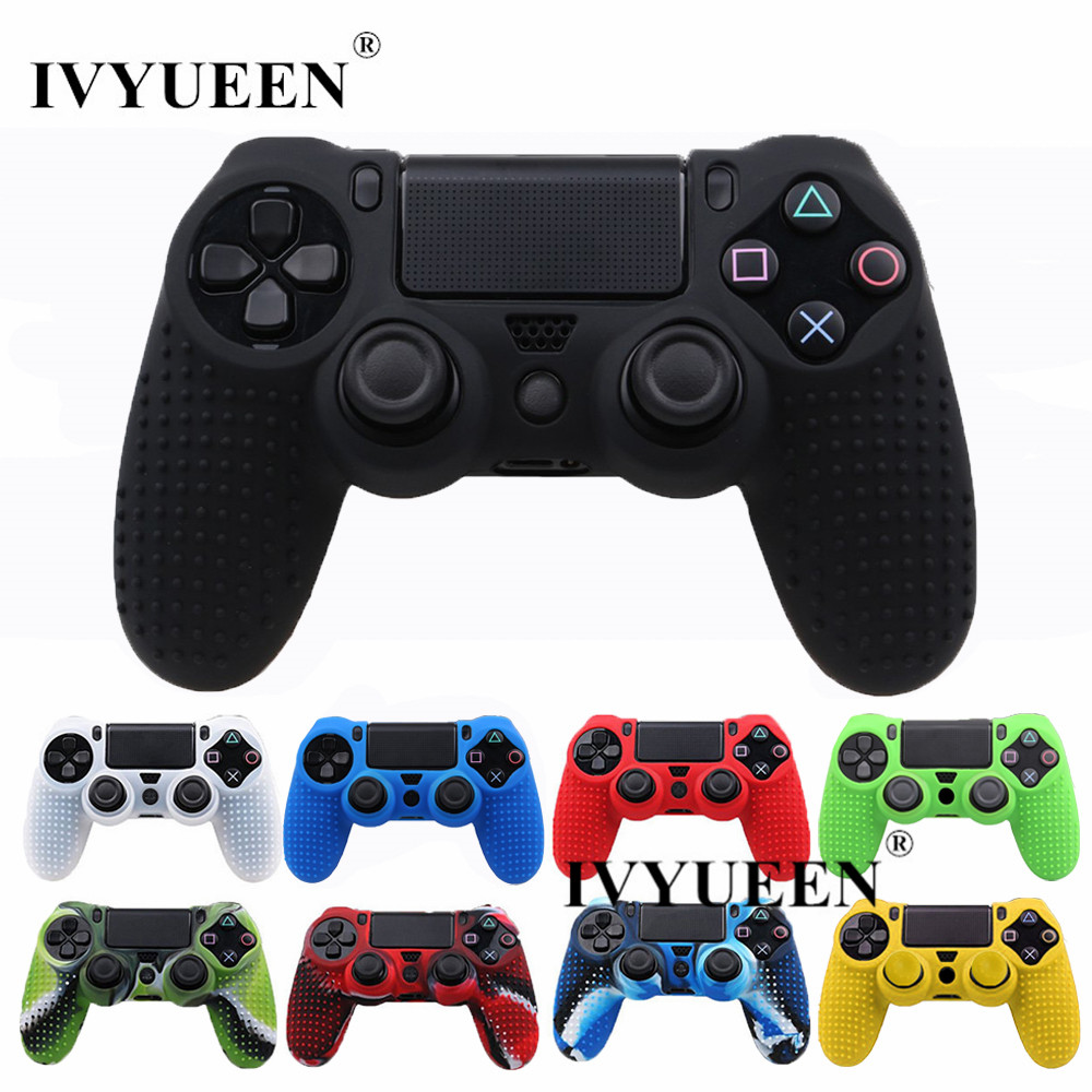 все цены на IVYUEEN Studded Silicone Rubber Cover Skin Case for Sony PlayStation 4 PS4 Pro Slim Controller Gamepad Cover with 2 Caps Grips онлайн