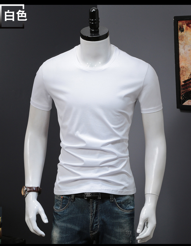 T-shirts Solid Color Man Casual camiseta homme t shirts Male Top Tees Summer (9)