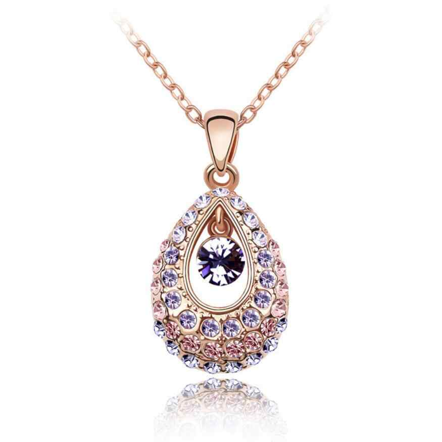 Kuziduocai yeni moda takı 4 renkler göz kamaştırıcı kristal melek gözyaşı damlası Charms Chokers kolye ve kolye kadınlar için N-94
