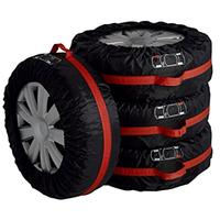 4pcs Car Auto Spare Tire Wheel Protection Covers Black And Red Storage Bags Carry Tote