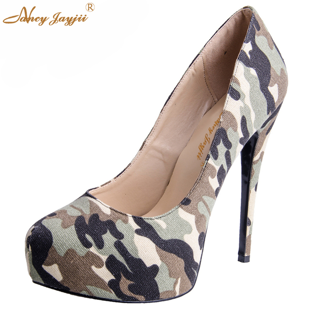 2cbbfad86f3 Novelty Camouflage Army Green Shoes Canvas Round Toe Thin High Heels  Platform Pumps Slip-On Non-Leather Women Shoes Nancyjayjii