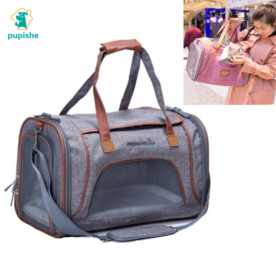 Pet Carrier Bag Flax Luxury Breathable Travel backpack for Small Dog Foldable Cat Carrier Dog Bag 5 Color Pet Supplies