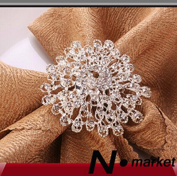 Doprava zdarma Květina Křišťálový páv Diamantové kroužky na ubrousky pro stolní dekorace Svatební držáky na ubrousky