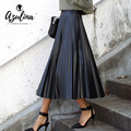 AZULINA Black Small PU Leather Pleated Skirt Women Casual Fashion Spring Autumn High Waist Faux Leather Party Club Skirts 2017