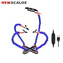 NEWACALOX Soporte de soldadura a tres manos, lupa de iluminación USB 3X, herramienta de soldadura manual de reparación, estación de soldadura multifunción