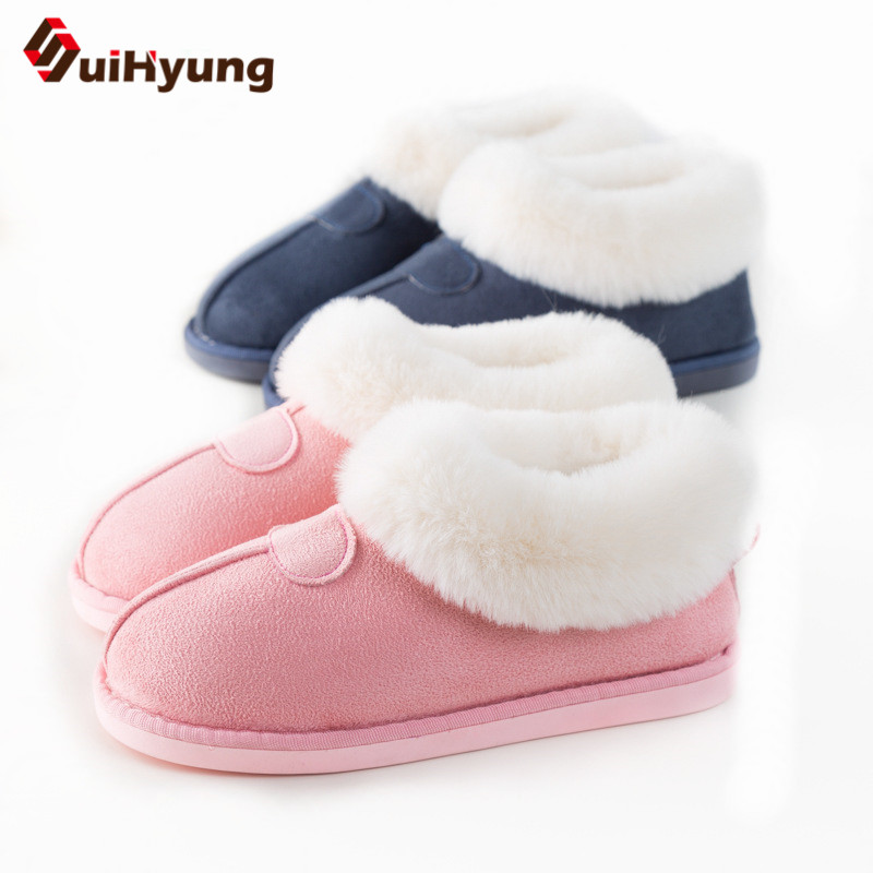 Suihyung Women Winter Warm Cotton Shoes Flats Home Plush Slippers Patchwork Fake Fur Indoor Floor Shoes Female Bedroom Slippers warm at home women slippers cotton shoes plush female floor shoes candy color soft bottom fleece indoor shoes woman home slippe