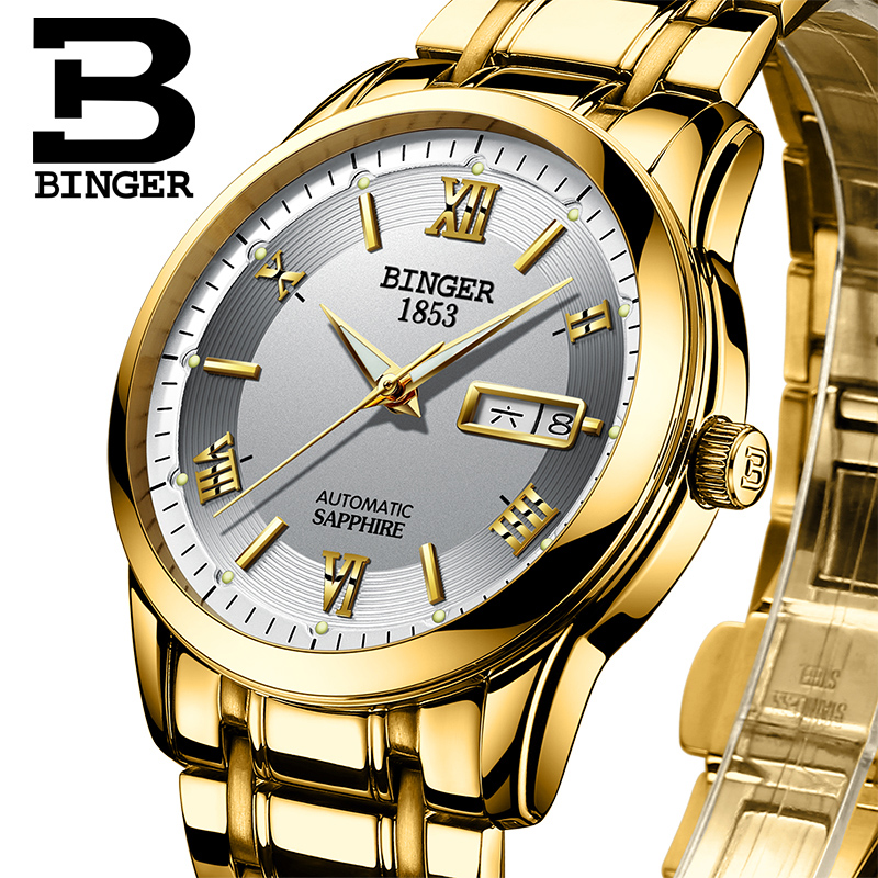 Switzerland watches men luxury brand Wristwatches BINGER luminous Automatic self-wind full stainless steel Waterproof  BG-0383-9 switzerland watches men luxury brand wristwatches binger luminous automatic self wind full stainless steel waterproof b 107m 1
