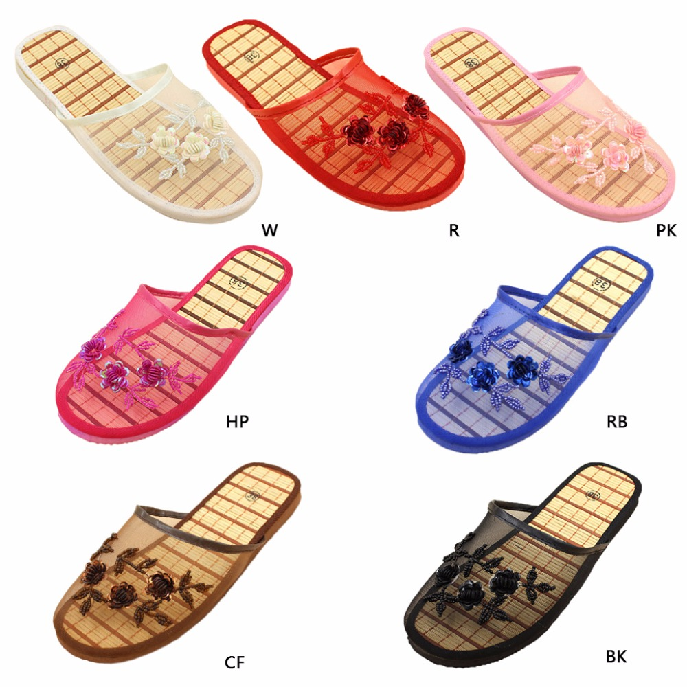 a0abf4f8d6c585 THINKTHENDO Women Floral Beaded Sequin Embellishment Mesh Slippers Flip  Flop Sandals New 2018