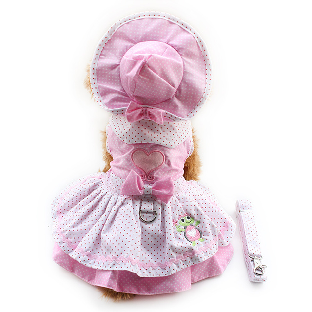 Armi store Dog Dresses Pink Princess Dress For Dogs 6071054 Pet Clothing Supplies ( Dress + Hat + Panties + Leash = 1set