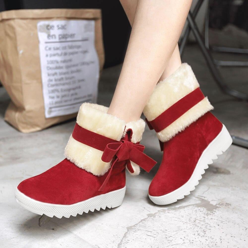 Arc Neige Sur Chaussures Casual Femmes D'hiver Youyedian Glissement Classique rouge En Cravate Troupeau Botas Noir khaki 2018 Bottes Peluche Mujer 6x6nzYqfI