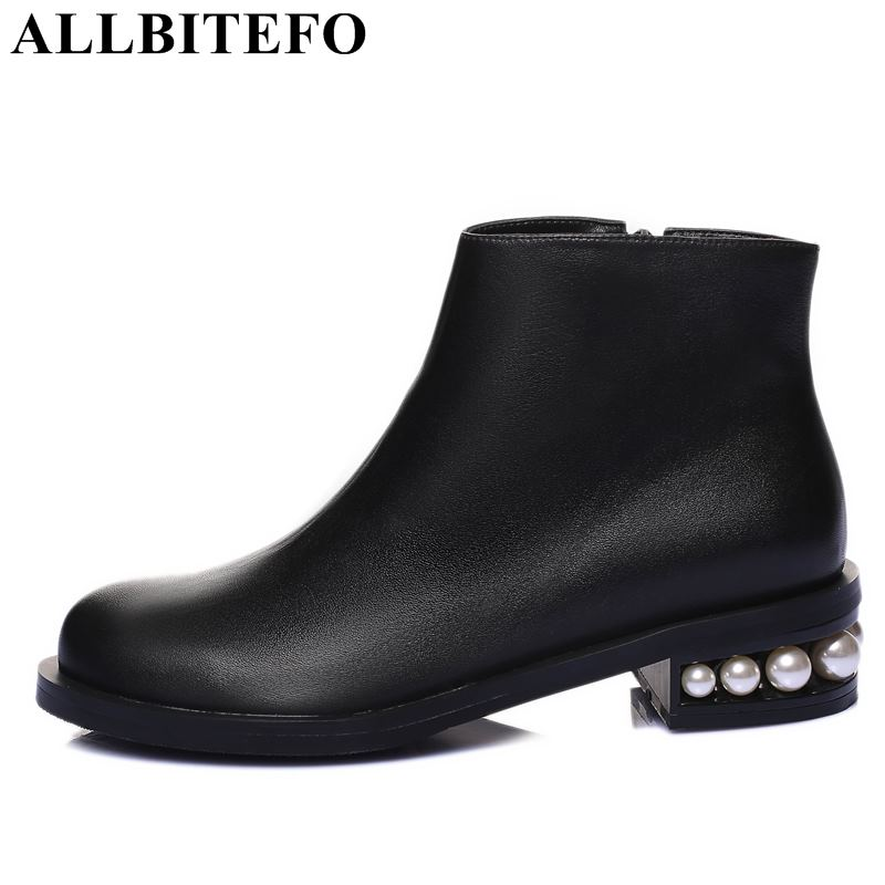 ALLBITEFO genuine leather thick heel women boots Rhinestone heel women high heel shoes winter boots girls shoes size:33-42 free shipping 2013 genuine leather high heel casual cotton padded shoes plus size 40 43 boots thick heel women s boots z476