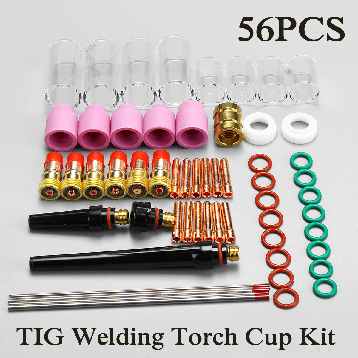 New 56Pcs TIG Welding Torch for Stubby Gas Lens Glass Pyrex Cup Collect Body Kit WP-17/18/26 Series Welding Tool Accessories