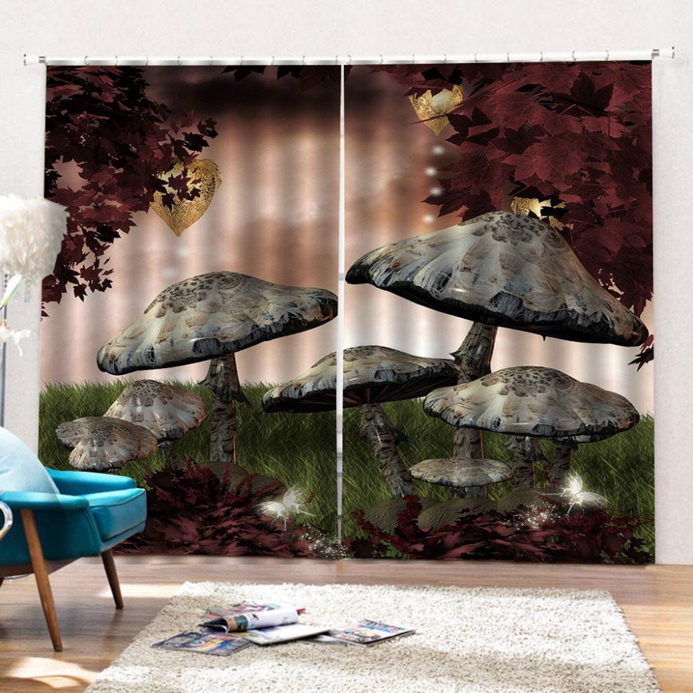 Customize any size 3D Curtains mushroom window curtains Living room bedroom kitchen black out window curtains Customize any size 3D Curtains mushroom window curtains Living room bedroom kitchen black out window curtains