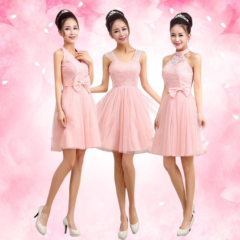 Pink bridesmaid dress cheap under 30 tulle sparkly for Short blush pink wedding dresses
