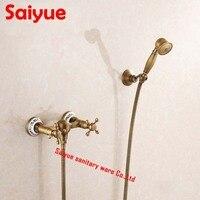 Vintage Antique Brass Wall Mount Handheld Tub Shower Faucet shower mixer tap set dual Handle Wall Mount