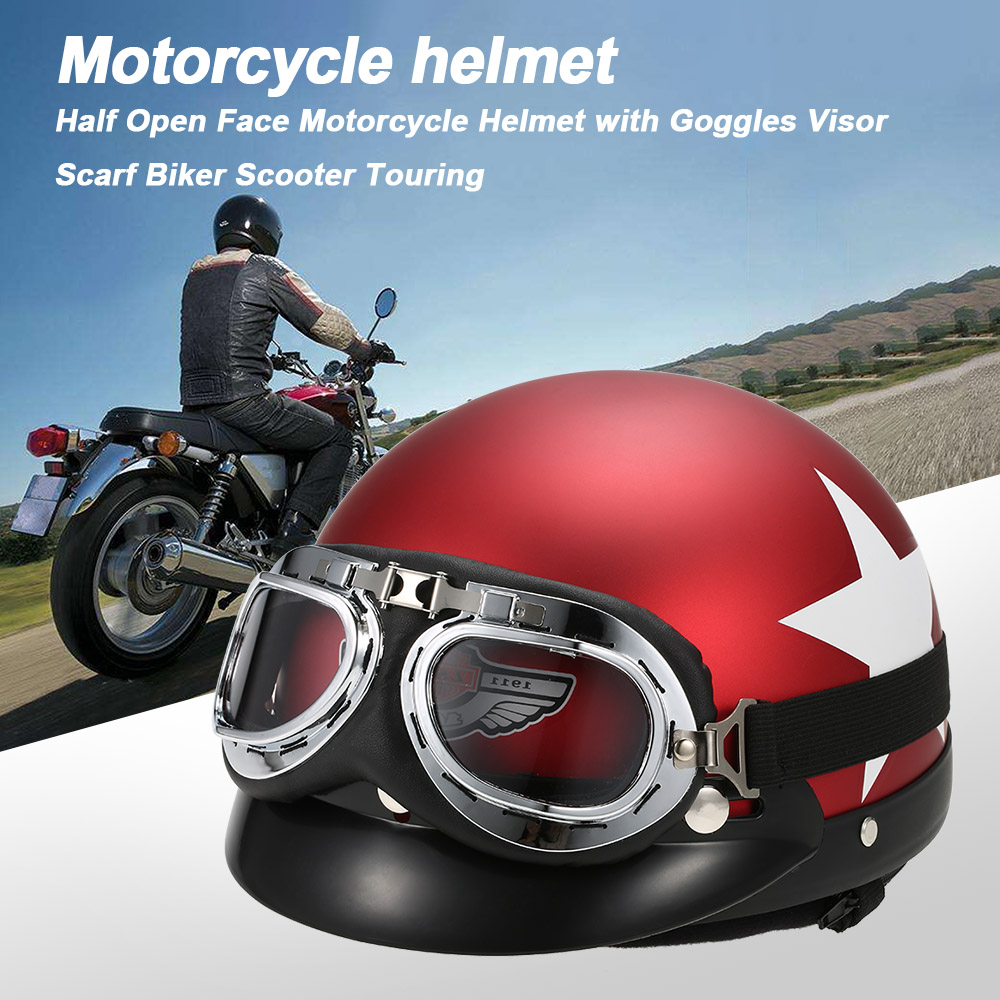 Half Open Face Motorcycle Helmet with Goggles Visor Scarf Biker Scooter Touring ...
