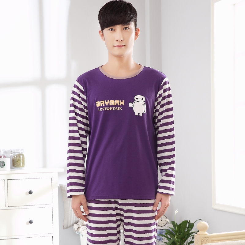 2018 Autumn Cotton Pyjamas For Men O-Neck Striped printing Lovely Pattern Home Suit -5085