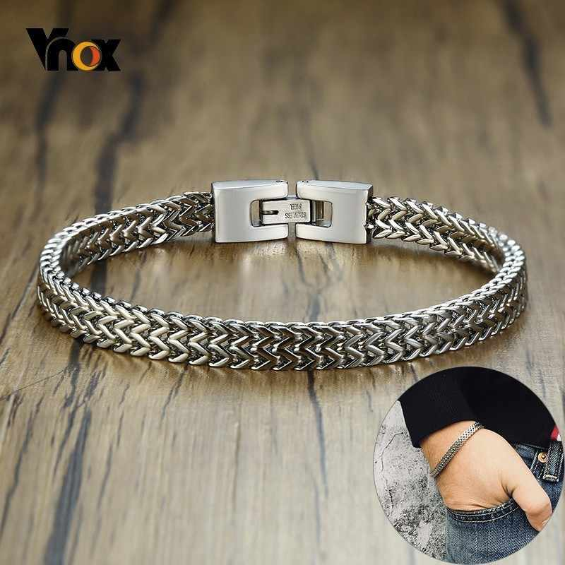 Vnox Stylish Mens Stainless Steel 6.5MM Two-strand Wheat Chain Bracelets Punk Biker Male Bracelet 8.26""
