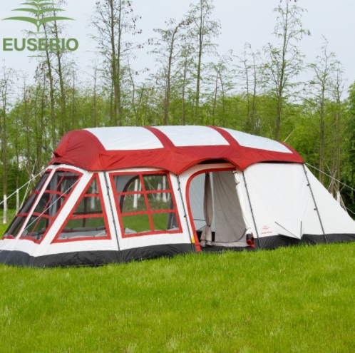 8 10 12 Persons Huge Double Layer Outdoor Family Two Bedrooms One Living Room House Shape Team Camping Tent Innice Relief Tent