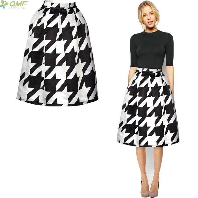 Falda plisada de pata de gallo clásica faldas Midi línea a Vintage moda mujer  falda negro 25dfb7da5020