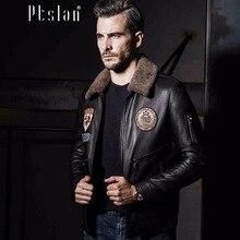 Ptslan 2016 Men's Genuine Leather Jacket Real Lamb Skin Sport Coat