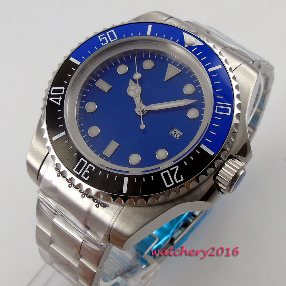 44mm Bliger Blue sterile dial ceramic bezel Date Crystal top brand Newest Luxury Luminous Marks Automatic movement Mens Watch44mm Bliger Blue sterile dial ceramic bezel Date Crystal top brand Newest Luxury Luminous Marks Automatic movement Mens Watch