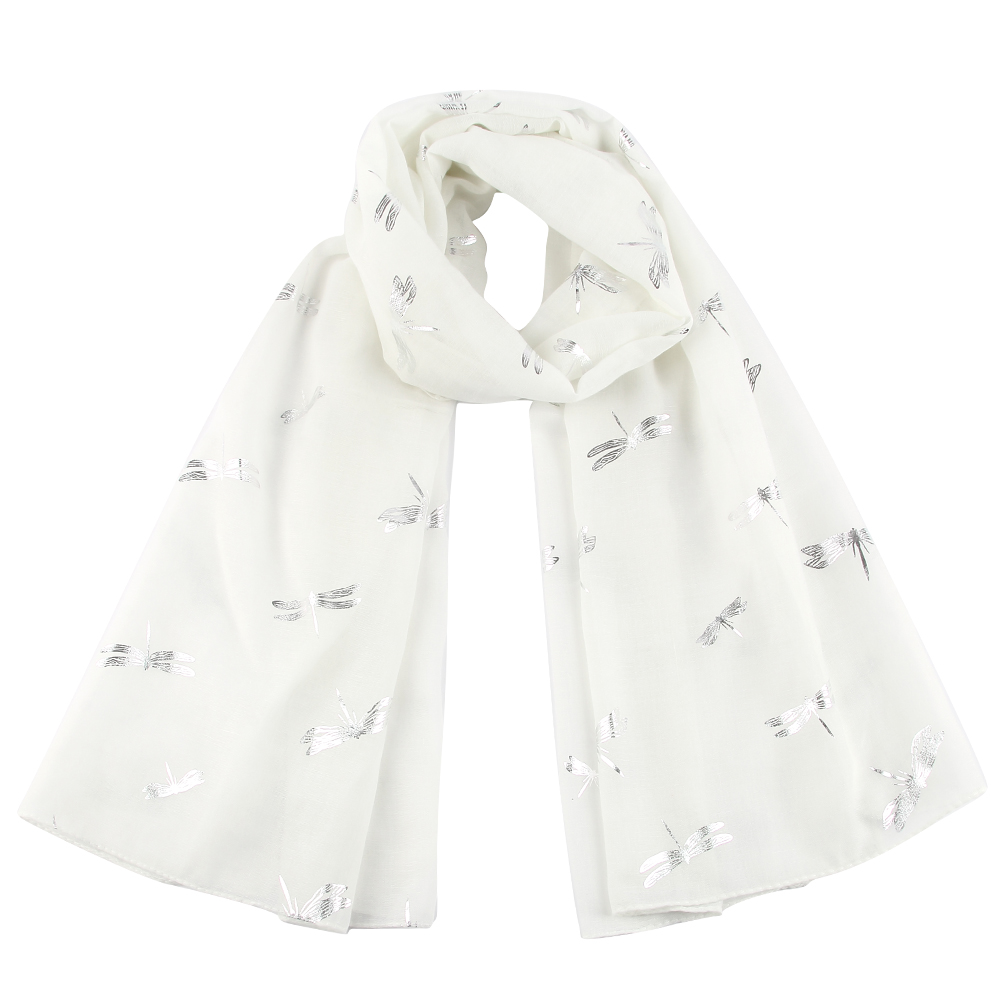 FOXMOTHER New Fashion Summer Black White Sky Blue Dragonfly Sliver Foil Scarfs Shawls For Womens Ladies Mother Gifts