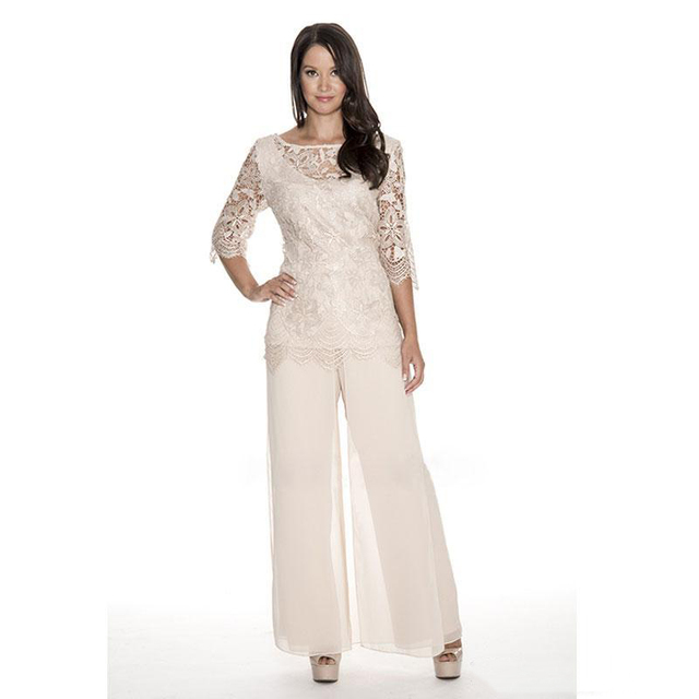 High Quality Lace Mother Of The Bride Pant Suits Sheer Wedding Guest Dress Two Pieces Plus Size Chiffon Mothers Groom Dress 2