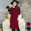Large yards long sleeved women T-shirt wool dress split long straight 2017 large size women dress 312