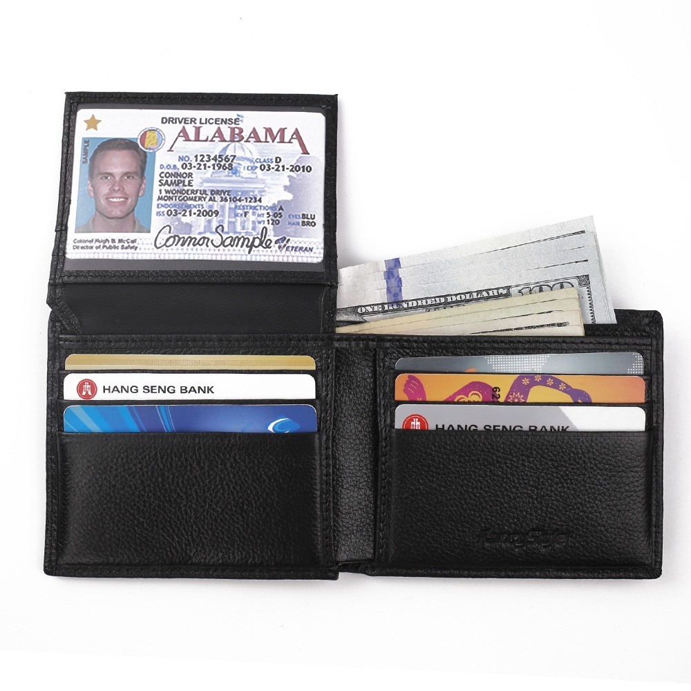 ФОТО RFID Blocking Wallet for Men Genuine Leather Excellent Credit Card Protector Stop Electronic Pick Pocketing