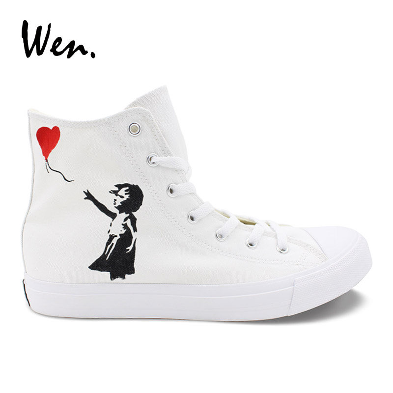 Wen Hand Painted Sneakers A Little Girl Red Balloon Original Design White Men Women's Casual Canvas Shoes for Boy Girl Gifts balloon print canvas organizer