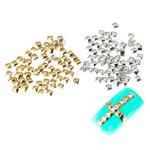 Pack of 250 Studs 3D Squares Metal 5mm Color Silver Decorations Nail Art Manicure