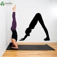 Namaste Yoga Pose Wall Stickers Vinyl Down Facing Art Mural Indian Yoga Studio Wall Decal Removable