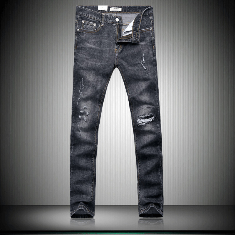 ФОТО Free shipping 2017 new style Men's casual fashion broken hole decorate jeans Men high quality black stitching straight jeans