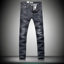Free shipping 2017 new style Men's casual fashion broken hole decorate jeans Men high quality black stitching straight jeans