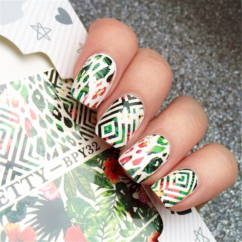 2 Patterns/Sheet BORN PRETTY Leaf Flower Nail Art Water Decals Transfer Sticker BPY32 ободки pretty mania ободок