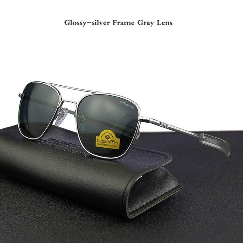 Piloto eua. re óculos de sol masculino qualidade superior designer marca randolph agx temperado lente de vidro ao óculos masculino yq1006