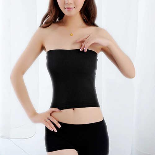 Podstawowe czarne kobiety dziewczyna Sexy krótki bez ramiączek jednolity kolor Bandeau Stretch Boob zakrętka tubki Camisole szczupła rura dropshipping