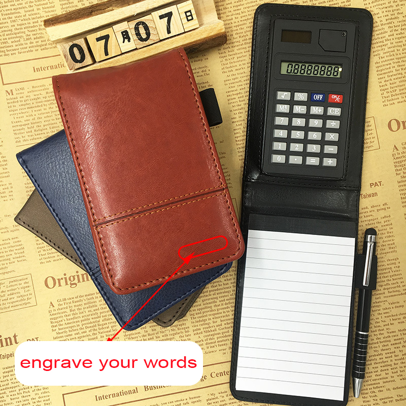 Ruize Business Notepad Pocket Small Leather Notebook A7 Planner Multifunction Office Note Book With Pen And Calculator